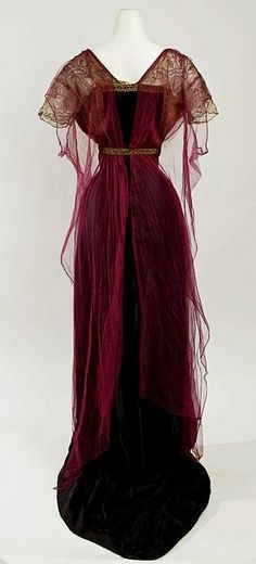 1912 Burgundy Edwardian Gown