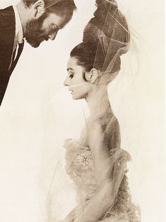 Audrey Hepburn, black and white, tulle veil