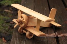 Handcrafted Eco Wooden Airplane, Bi-plane, Gift for Child, Handmade, Toy for Boy…