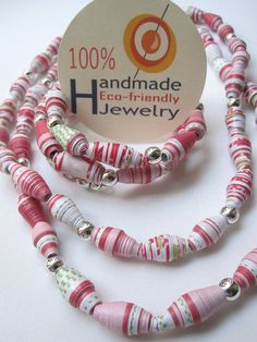 Handmade paper beaded Necklace and Bracelet Set by Mariapalito, via Flickr