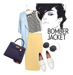"""""""les"""" by omahtawon ❤ liked on Polyvore featuring Raoul, River Island, Hermès and bomberjackets"""