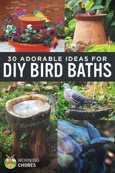 Do you want to attract birds to your garden? Why not provide them a space to bath? Here are 30 DIY bird bath ideas that will make a fun family project. diy garden ideas 30 Adorable DIY Bird Bath Ideas That Are Easy and Fun to Build Bird Bath Garden, Diy Bird Bath, Bird Bath Fountain, Garden Kids, Glass Garden, Homemade Bird Baths, Small Garden Art, Hanging Bird Bath, Small Water Gardens