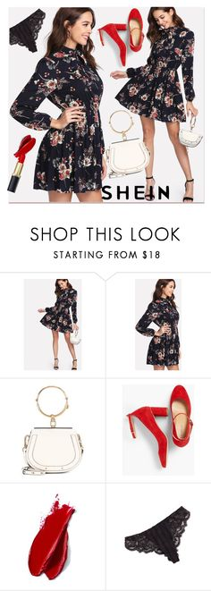 """""""Tie Neck Flower Print Dress"""" by pavicmartina ❤ liked on Polyvore featuring Chloé, Talbots, Balmain and Simone Perele"""