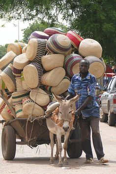 Basket Vendor and Donkey Cart - Bolgatanga - Ghana