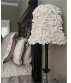 ruffle lamp - perfect solution to the shade that got a hole in it! ....I'm thinking old flour sack ruffles :)
