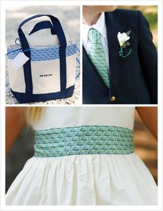 Vineyard Vines tie for the ring bearer, flower girl dresses and gift bags for guests!