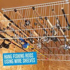Hang fishing rods using wire shelves. | Handyman Magazine |