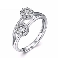 Omasys Sterling Silver Rings Cubic Zirconia