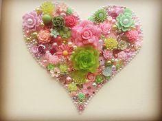Heart art Pinks & greens