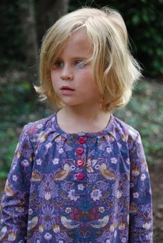 girls dress in purple strawberry thief fabric by SchoolHouseFrock, $51.00
