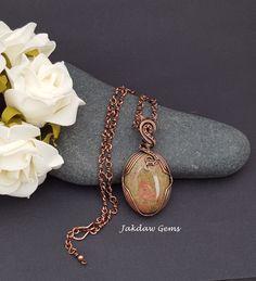 Unikite and Copper Handmade Pendant by JakdawGems on Etsy