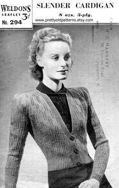 Weldons 294 This has such a great stitch pattern with a great deep V-neck and puffed sleeves Date: estimated early 1940s Measurements: Bust