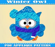 Winter Owl Applique Pattern Template Christmas Owls PDF Download Instant Fabric Stocking Print Xmas Stocking Wall DIY Baby Quilt New Year