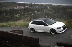 White Audi wagon #slammed