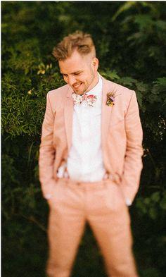 read more Vintage garden wedding & wedding picnic    http://www.itakeyou.co.uk/wedding/garden-wedding-london-wedding-photographer/     Photo : mikiphotography.info   peach groom bowtie and suspender