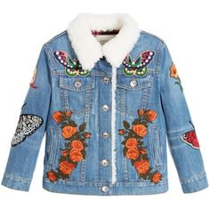 Gucci Girls Embroidered Denim Jacket ($100) ❤ liked on Polyvore featuring jackets and kids
