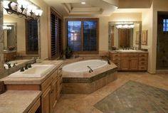 Craftsman Master Bathroom with Pental jurastone beige polished limestone, Master bathroom, Drop-In Sink, Drop-In Bathtub