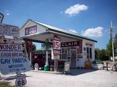 "Refinished gas station on Route 66, stop in and say ""Hi"" they love to chat. In Gay Parita, MO."