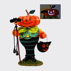 KATHERINE'S COLLECTION PUMPKIN FIGURE TABLETOP 22″ tall Head lights up with 3 AAA batteries  $278.00  Tabletop Lighted Pumpkin figure from Katherine's Collection is perfect for your Halloween decor!