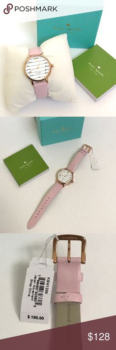 """🎉EDITOR'S PIC🎉KATE SPADE Metro Chalkboard Watch Guaranteed Authentic! BRAND NEW IN BOX!!! Kate Spade Metro Chalkboard leather watch. Color: Pink leather strap and rose gold tone hardware. Adjustable vachetta leather strap. Traditional buckle closure. 3-hand analog display and quartz movement. White dial with each time numeral spelled out. Measurements: Case Height: 34 mm, Case Width: 34 mm, Case Depth: 8 mm, Band Width: 3⁄5"""" Band Length: 8 1⁄2"""". Water resistant 3ATM/30m. Item will be…"""