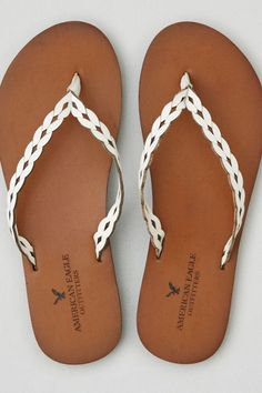 AEO Leather Flip Flop , White | American Eagle Outfitters