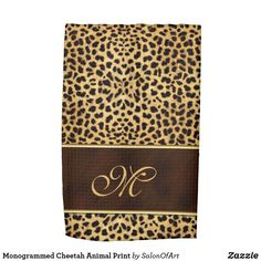 Shop Monogrammed Cheetah Animal Print Tea Towel created by SalonOfArt. Cheetah Animal, Cheetah Print, M Monogram, Cat Themed Gifts, Office Art, Towel Set, Small Gifts, Tea Towels, Gifts For Her