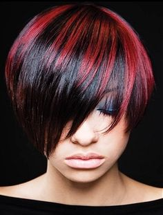 red highlights #hair Gothic Hairstyles, Dance Hairstyles, Black Women Hairstyles, Red Hairstyles, Brunette Hairstyles, Red Highlights, Hot Hair Styles, Natural Hair Styles, Hair Color For Women