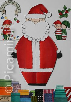 Iconic Work — Picamimi Santa Claus Is Coming To Town, Advent Calendar, Choices, Celebration, Banner, Illustrations, Holidays, Holiday Decor, Drawings