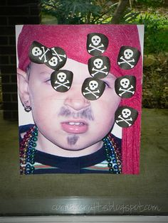 "Print a large photo of daughter dressed up as a pirate. Make patches with #Cricut and Life's a Party cartridge. Then play ""pin the patch on the pirate"" at the birthday party! So fun and easy!"