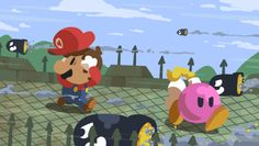 Paper Mario, Mario and Bombette dodging Bullet Bills at the Koopa Bros. Fortress.