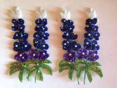 Vintage Appliques Sequin Texas Bluebonnets Floral Patches Craft Sewing Set of 2 #EstateSaleFind #Bluebonnets