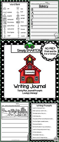 Are you looking for a NO PREP literacy activity for preschool, kindergarten, or first grade? Then enjoy this writing journal which is comprised of THIRTY PLUS COMMUNITY themed WRITING JOURNAL PROMPTS. The differentiated journal prompts can be used for writers' workshop, literacy centers, independent work, content lessons, and homework. The journal pages can be chosen by the teacher to best meet the needs of the student and assembled into a journal with the provided cover.
