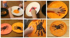 Handprint Spiders on lacing card using paper plates and tempura punched holes with hole punch around rim