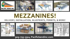 Custom Mezzanines available! Call today!   Materials: Beams, uprights, wire decks & more  Condition: New Style: Teardrop  Size: Custom Delivery: Available  Pick up: Available Installation: Available High Pile Permits Blueprints 909-793-5914 Pacificbendinc.com