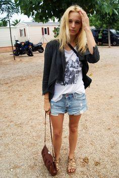 Camiseta/T-shirt: Blanco Blazer: H & M Shorts: ¿? Flats: Topshop ...