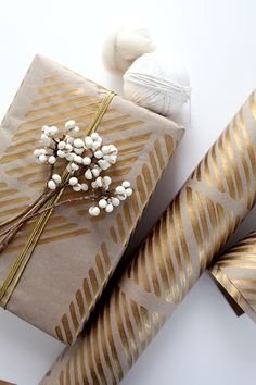 Painted paper gift wrap