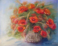 Maki z kłosami - Maria Roszkowska - obraz olejny