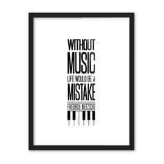 Music Life Black White Pop Poster Piano Wall Quote Wall Art Gift Canvas Painting