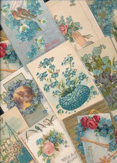 Nice Lot of ~20 VICTORIAN FORGET-ME-NOTS blue~ FLOWERS greetings Postcards-a680 #greetings