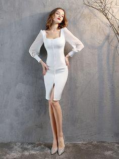 Fleepmart Full-Sleeve Square Neck Knee-Length Homecoming Dress Black White Formal Dress Birthday Party Short Gowns 2021 Women Dresses