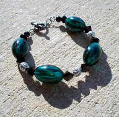 Aqua Swirl Glass Bracelet