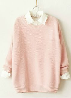 Cute pastel pink sweater with the white collared shirt underneath.《 it looks like something Sayori would wear!