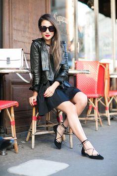 Friday Stroll :: Ruffle dress & Lace-up flats