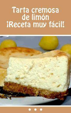 :) Tarta cremosa de limón. ¡Receta muy fácil! | Más en https://lomejordelaweb