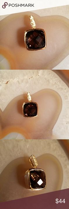 18kYGP/SS smokey topaz pendant,  NWOT 18kYGP over Sterling smoky topaz pendant, NWOT  ~~stamped .925 & looks like heart in partial open box  ~~weight 2.7 grams  ~~no chain   ~~from LuxuryLine   Make an offer! Or add to bundle & I'll make u a private offer w no pressure or obligation at all Luxury Line Jewelry Necklaces