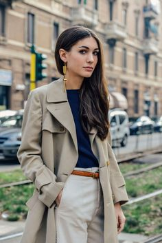 Classic Style | Tan trench coat, navy blue top, cream, off-white trousers, brown belt