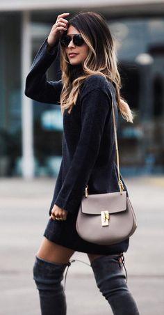 #pretty #winter #outfits /  Black Turtleneck Knit Dress // Dark Suede OTK Boots