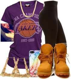 A fashion look from March 2013 featuring purple top, white leggings and bamboo earrings. Browse and shop related looks. Timberland Outfits, Timbs Outfits, Swag Outfits, Dope Outfits, Timberland Heels, Timberlands, Timberland Fashion, School Outfits, Fall Outfits