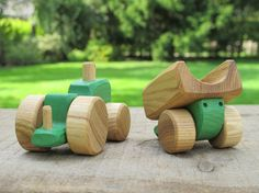 Wooden Toy Tractor kids gift baby gift by WoodenFrogLV on Etsy