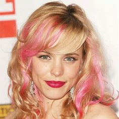 Pink highlights , blonde hair